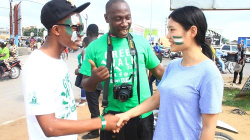 handshake between 2 people in Lagos Nigeria