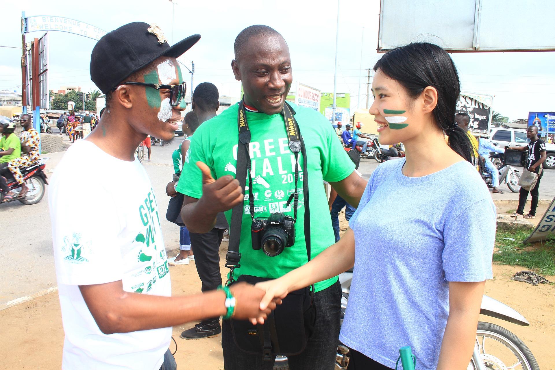 handshake between 2 people in Lagos Nigeria